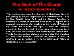 The Work of The Church & Institutionalism