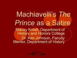 Machiavelli`s The Prince as a Satire