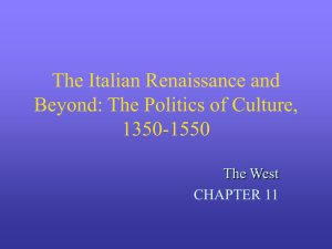 The Italian Renaissance and Beyond: The Politics of