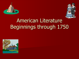 American Literature Beginnings through 1750