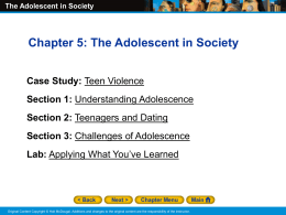 The Adolescent in Society