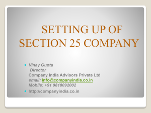 setting up of section 25 company - Company Registration in India