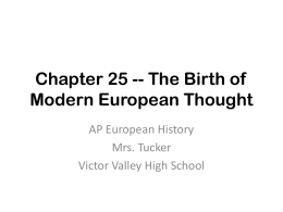 Chapter 25 -- The Birth of Modern European Thought