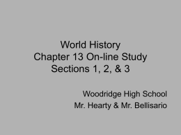 World History Chapter 13 On-line Study Sections 1, 2, & 3