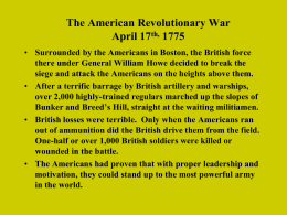The American Revolutionary War April 17 th, 1775