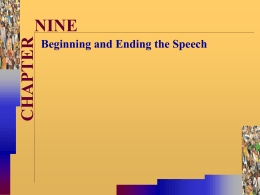 Beginning and Ending the Speech