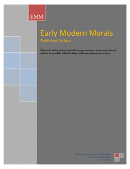 Articles - Early Modern Morals