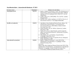 Kurslitteratur Internationella relationer I, VT2015