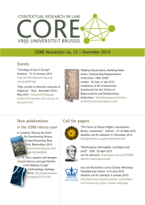 CORE Newsletter no. 12 – December 2014 Events Call for papers