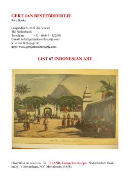 GERT JAN BESTEBREURTJE LIST 67 INDONESIAN ART