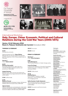 Italy, Europe, China: Economic, Political and Cultural