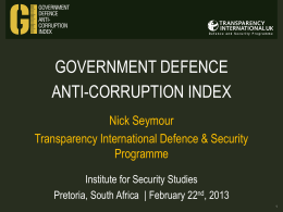 Transparency International UK*s Defence and Security Programme
