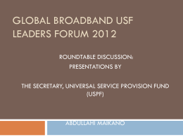 Presentation at Global Broadband USF Forum Turkey