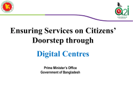 Ensuring Services on Citizen`s Doorstep - E