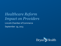 Healthcare Reform Impact on Providers