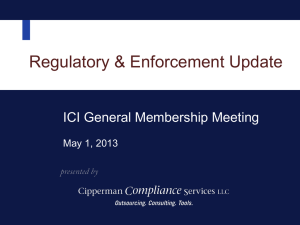 ICI Legal Forum: May 1, 2013 - Cipperman Compliance Services