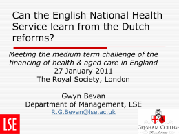 Can the English National Health Service learn from the Dutch reforms?