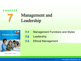 Chapter 7 - Management and Leadership