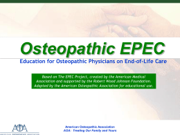 Osteopathic EPEC Module 8 - American Osteopathic Association