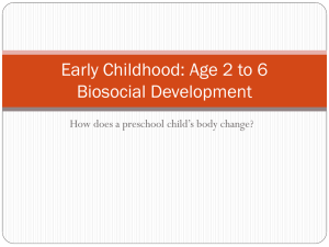 Early Childhood: Age 2 to 6 Biosocial Development