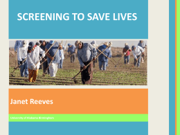 """Screening to Save Lives"" Presentation"