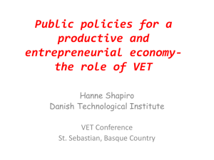 Design of public policies for a productive and entrepreneurial