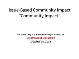 Issue-Based Community Impact *Community Impact