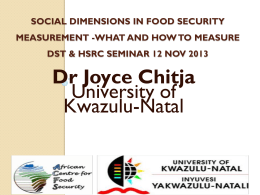 Chitja Social dimensions in food security measurement
