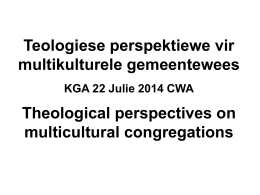 NT guidelines regarding multicultural congregations