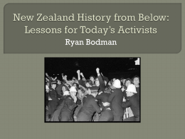 New Zealand History from Below: Lessons for Today*s Activists