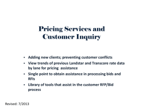 Pricing Services and Customer Inquiry