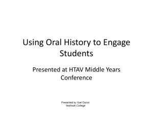 Using Oral History to Engage Students - Rabbi Y Doron