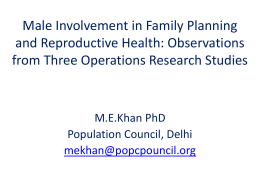 Male Involvement in Family Planning and