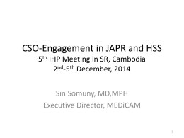 CSO-Engagement in JAPR and HSS 5th IHP Meeting in SR