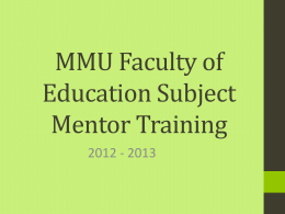 MMU Subject Mentor Training