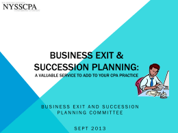 SEPT 2013 Business Exit & Succession Planning