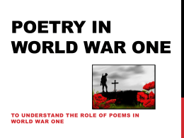 Poetry in world war one