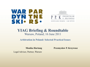 Arbitration in Poland - selected practical issues