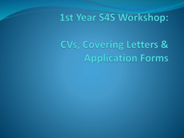 CVs, Covering Letters & Application Forms