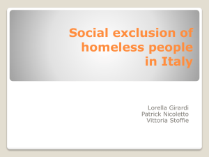 Social exclusion of homeless people in Italy