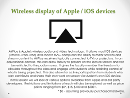 Wireless display of Apple / iOS devices