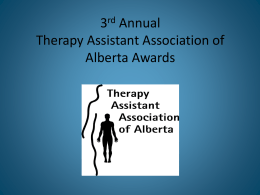 2014 ThAAA awards - Therapy Assistant Association of Alberta