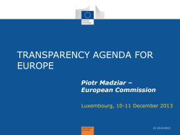 Transparency Agenda for Europe