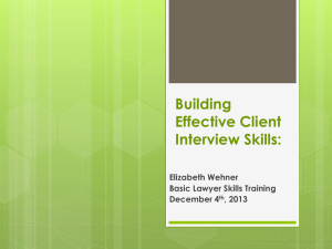 III Client Interview Skills 2013