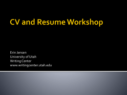 CV and Resume - University Writing Center