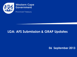 Status on the submission of AFS & standards of Grap
