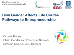 How Gender Affects Life Course Pathways to Entrepreneurship