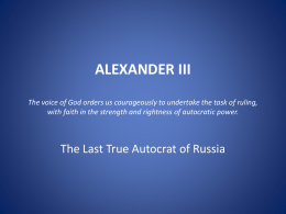 ALEXANDER III: Counter Reforms - Zemstvos