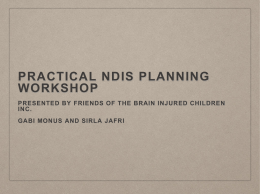 Practical NDIS workshop - Friends of Brain Injured Children