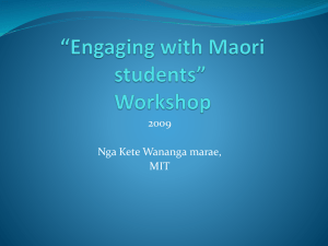 *Engaging with Maori students* Workshop